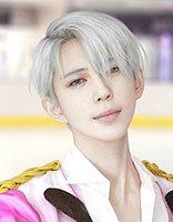 男神cos之冰上的尤里 灰白色偏分假发似王子