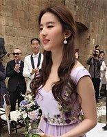 伴娘刘亦菲优雅公主头半扎发美翻了 实力抢镜新娘张靓颖