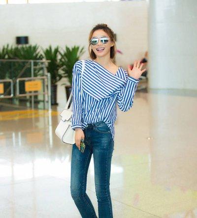 袁珊珊短发衬衣牛仔裤现身机场 袁珊珊五款时尚发型值得拥有