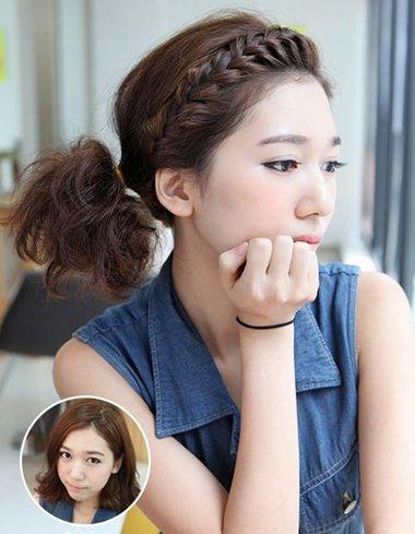经过发型师不懈的努力,终于设计出适合短发女生编织的韩式辫子哟,小编图片