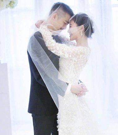 吴中天杨子珊婚礼上演头纱吻 杨子珊新娘礼服造型超美