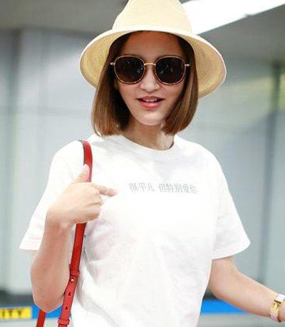 张歆艺的白T恤还有表白功能 张歆艺夏季短发发型御姐又清新