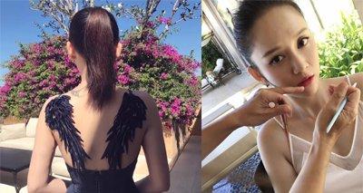 陈乔恩少女高马尾却被翅膀抢镜 陈乔恩美腻长发发型图片