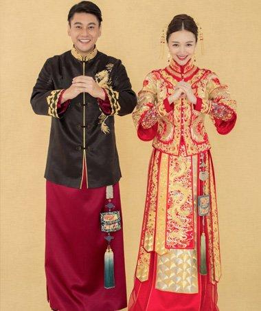 龙凤袍中分新娘发型 中国风新娘造型设计