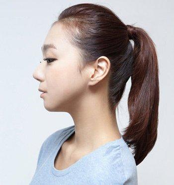 单个马尾辫扎发步骤图解 把刘海也梳起来的马尾辫发型