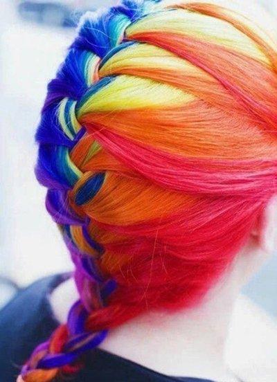 彩虹染发撞上编发不要太美 长发女生唯美创意编发battle