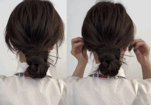 过腰长发不用梳子一分钟盘丸子头方法 被职场女孩大呼救命药丸的低盘发教程
