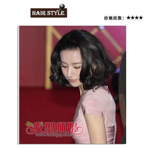 螺旋卷无刘海梨花头-气质女星董洁短发发型 美不美无关于头发长短 董