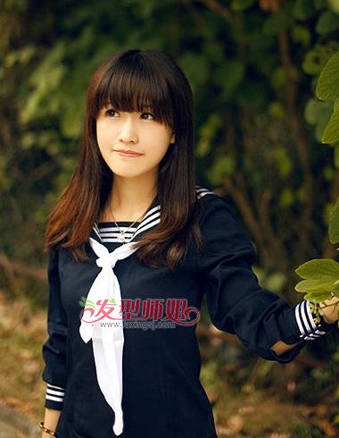 齐刘海中长发梨花-小清新樱花中长发发型 偏爱你的中长发 学生发型