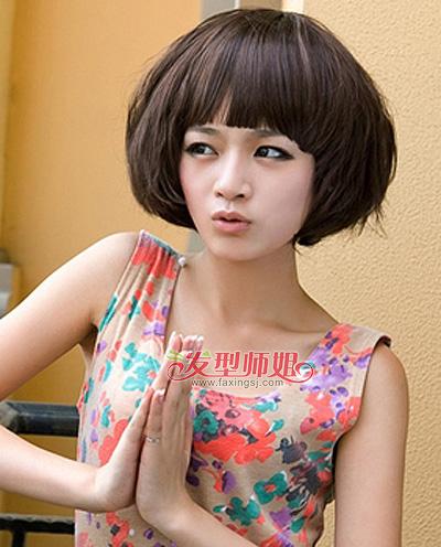 大圆脸学生短发发型图片 大圆脸适合什么发型女图片(4图片