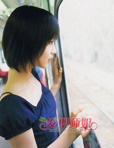 刘海设计与两边头发一样的碎发设计,整款发型最适合清凉女生梳发.图片