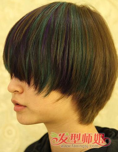 学生染发发型 女生短发挑染发型(3)图片