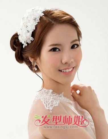 长脸适合什么新娘造型图片 瘦长脸新娘盘发(3)_发型