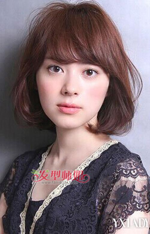 梨花头   造型,长度到齐肩的位置,圆脸经过刘海和两侧发丝的美