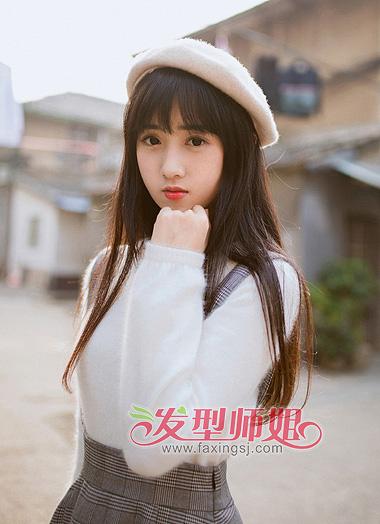 齐刘海长直发发型图片 黑色中长发齐刘海发型(3)图片
