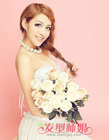 韩式新娘中长发侧编发-2015韩式影楼新娘发型 中长发新娘发型 2