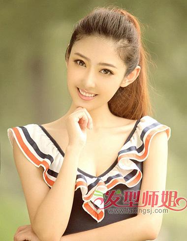 无刘海学生高扎马尾-学生发型女露额头马尾的梳法 漂亮的学生发型