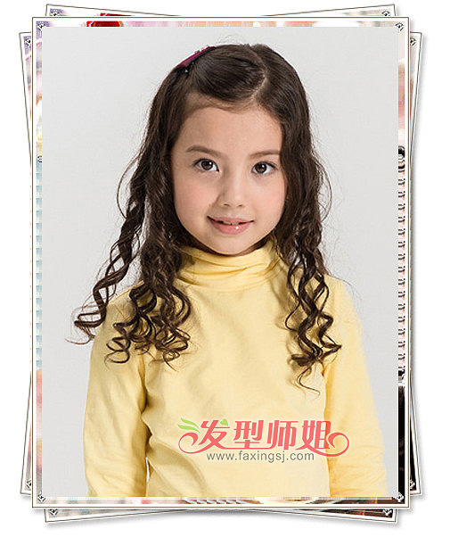 女童螺旋卷发公主头扎发发型