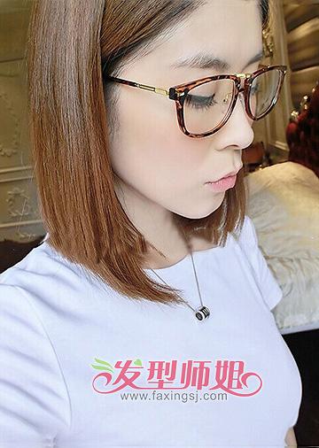 圆脸戴眼镜头发少的妹妹适合且流行的发型图片