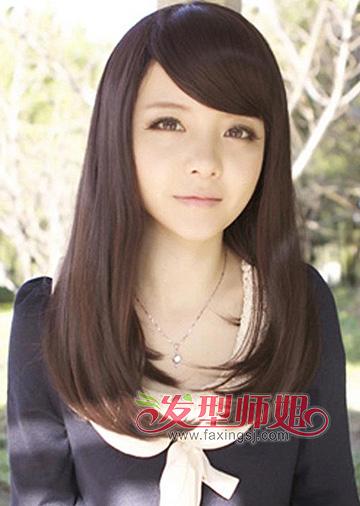 长脸直发斜刘海发型 中学生斜刘海发型图片图片
