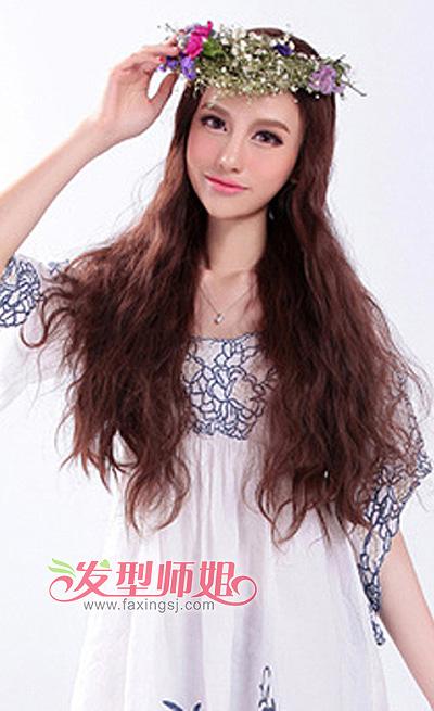 齐腰长发梨花头发型 长发梨花头图片 发型师姐