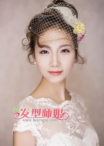 宽脸韩式新娘发型 宽脸三七分短发新娘盘发(4)图片