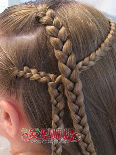 儿童发型编织法 小女孩编辫子发型分解图(5)