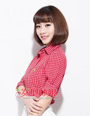 齐刘海中短发梨花头-好看的女生中短发发型 高中女生中短发发型 2
