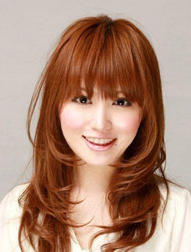 大圆脸适合的发型图片 大圆脸齐刘海长发烫发发型(3)