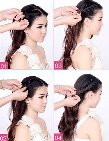 韩式新娘中分编盘发的全方位效果图,看似简单的编盘发造型,其实步骤图片