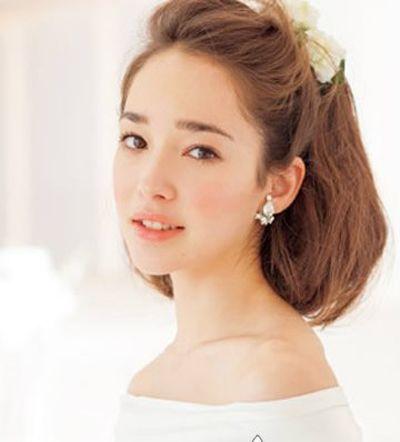 5年流行无刘海齐肩新娘短发发型-2015流行的短发新娘发型图解 韩式