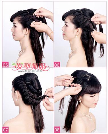 发型设计 新娘发型 >> 韩式编发新娘发型步骤 新娘编发发型图解(2)图片