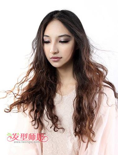 女士长发纹理烫发型图 时尚沙宣纹理烫发型(4)图片
