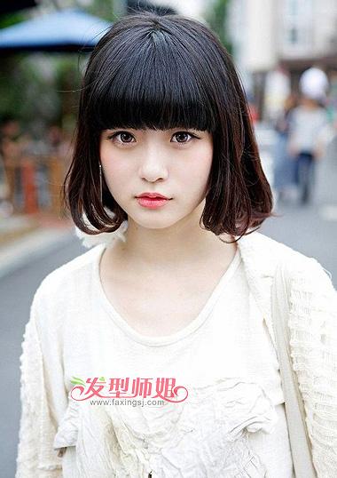 中学生齐刘海梨花头-有什么好看的梨花头图片 女中学生适合什么样的