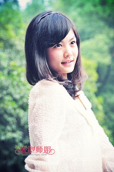 中学生斜刘海内扣梨花头-有什么好看的梨花头图片 女中学生适合什么