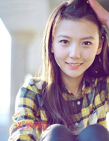 15岁学生没有刘海的可爱发型