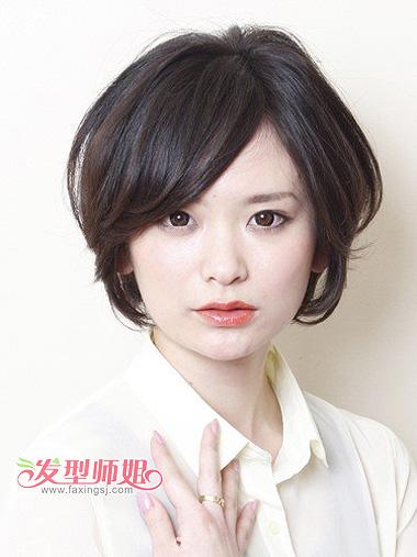 适合大圆脸的短发图片 大圆脸留短发的图片 发型师姐