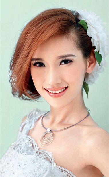 中短发新娘发型 齐刘海中短发新娘发型设计图片