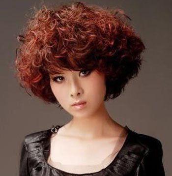女士中年中短发小卷发型图片 日韩小卷发型(2)图片