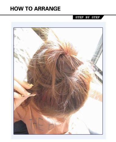 中长直发怎么扎丸子头 中长直发丸子头的扎法图解(4)图片