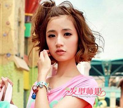初中女学生中短发发型 方脸女学生中短发发型图片(3)图片