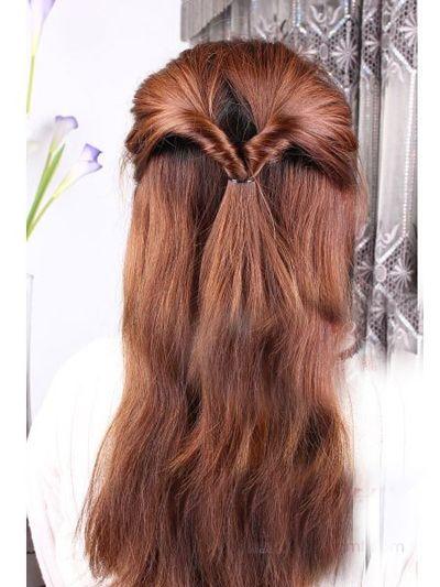 女生中长发盘发发型 简单易懂的盘发发型图解图片