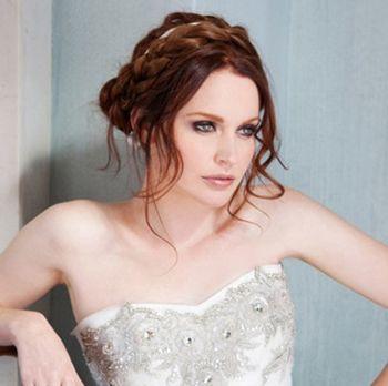 新娘圆脸中长发盘发发型 大圆脸中长发烫发发型(2)图片
