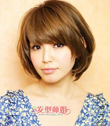 韩国学生斜刘海内扣短发-韩国学生发型 韩国中短发学生发型 发型师姐