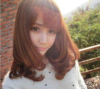 中学女生中长发发型 头发少中长发烫发发型图片