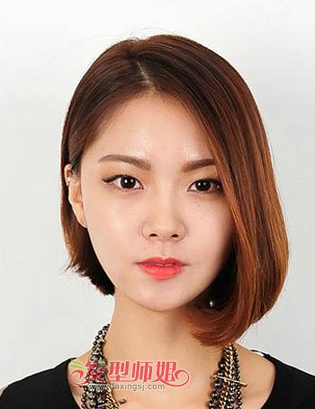 最新流行的圆脸发型 圆脸中分刘海直发发型图片