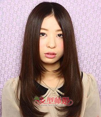 最新流行的圆脸发型 圆脸中分刘海直发发型图片(2)