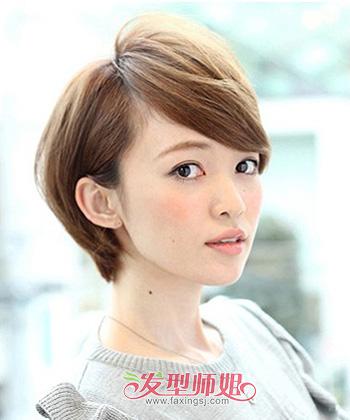 高中生短发发型圆脸发型适合的名称圆脸图片(2)高发型女生中长发短发额头大全图片