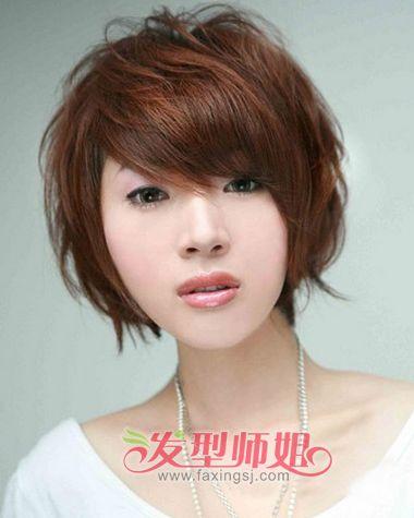 中年长脸女士斜刘海短发烫发-长脸适合剪什么短发 中年长脸女士适合