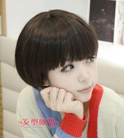 学生蘑菇头短发发型扎法 短发蘑菇头发型图片